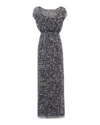 JS Collections Black Sequin Blousson Gown