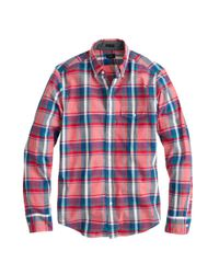 J.Crew | Red Slim Indian Cotton Shirt in Rose Tile Plaid for Men | Lyst