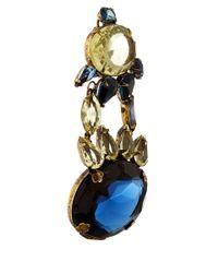 Iradj Moini Dark Blue And Citrine Clip-On Earrings