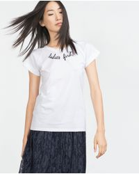 Zara | White Pearl T-shirt With Text | Lyst