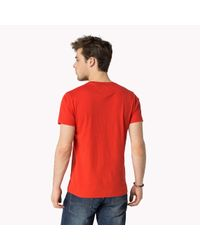 Tommy Hilfiger - Red Cotton Printed T-shirt for Men - Lyst