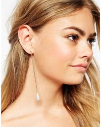ASOS - Metallic Single Ear Cuff With Faux Pearl Drop - Lyst