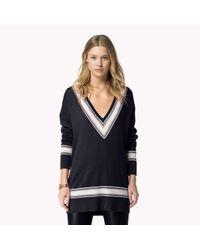 Tommy Hilfiger Blue Wool Cashmere V-neck Sweater