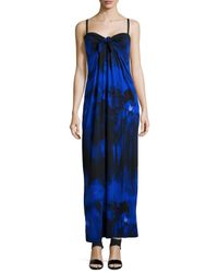 Halston - Blue Tie-Front Printed Jersey Maxi Dress - Lyst