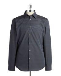 Calvin Klein | Gray Striped Sportshirt for Men | Lyst