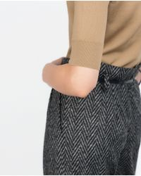 Zara | Brown Cropped Sweater | Lyst