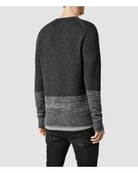 AllSaints - Gray Wray Crew Sweater for Men - Lyst