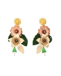Dolce & Gabbana - White Hand-Painted Enamel And Crystal Earrings - Lyst