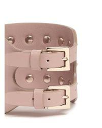 Valentino - Pink 'rockstud' Wide Leather Bracelet - Lyst