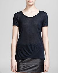 The Kooples | Black Tee - Short Sleeve Zip Back | Lyst