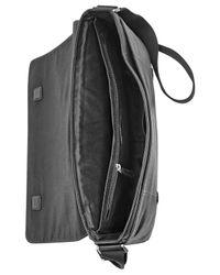 Fossil - Black Aiden Leather Messenger Bag for Men - Lyst