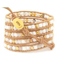 Chan Luu | Natural White Magnesite Mix Wrap Bracelet On Beige Leather | Lyst