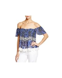 Lovers + Friends - Blue Lace Detailed Off The Shoulder Top - Lyst