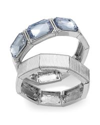 INC International Concepts - Metallic Silver-tone Blue Square Stone Stretch Bracelet Set - Lyst