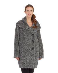 Sofia Cashmere Black Funnel Neck Walker Coat
