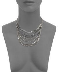Saks Fifth Avenue - Metallic Mixed Chain Bib Necklace - Lyst