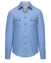 BOSS Orange | Blue Slim-fit Casual Cotton Shirt 'edaslime' for Men | Lyst