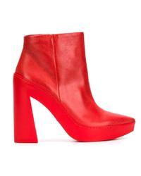 Vic Matié Red Chunky Heel Boots