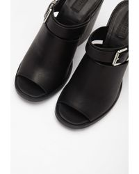 Forever 21 - Black Buckled Peep-toe Mules - Lyst