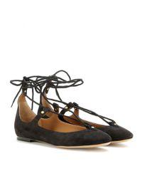 Chloé Black Lace-Up Suede Ballet Flats