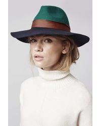 TOPSHOP | Blue Colourblock Fedora Hat | Lyst