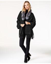 Surell   Black Fox Fur Collar Fringe Cape   Lyst