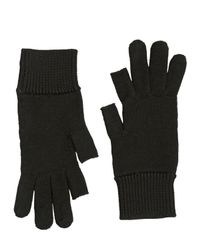 Rick Owens Blue Knitted Wool Gloves