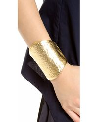 Kenneth Jay Lane - Metallic Oversized Hammered Cuff Bracelet - Lyst