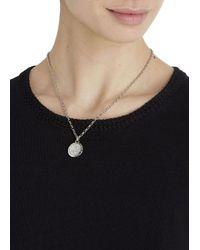 DKNY Metallic Silver Tone Pavé Crystal Necklace