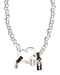 Uno De 50 | Metallic Beaded Heart Necklace | Lyst