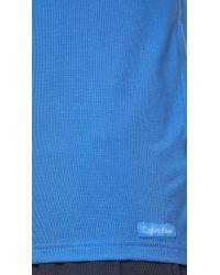 Calvin Klein Blue Body Modal Short Sleeve V Neck T-Shirt for men
