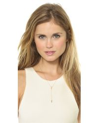 EF Collection Metallic Diamond Double Triangle Lariat Necklace Rose Goldclear