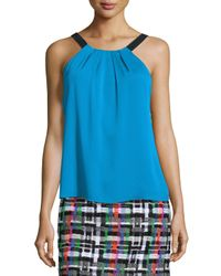 MILLY | Blue Silk Crepe Pleated Tank | Lyst