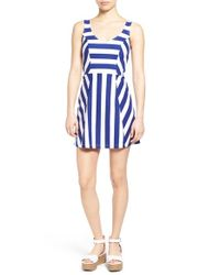 Amour Vert | White 'kristi' Stripe Knit Fit & Flare Dress | Lyst