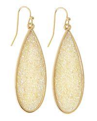 Fragments | Metallic Teardrop Druzy Earrings White | Lyst