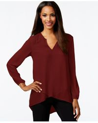 Karen Kane | Purple Long-sleeve Layered-hem Top | Lyst