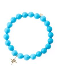 Sydney Evan - Blue Turquoise Round Beaded Bracelet With 14K Gold/Diamond Small Butterfly Charm (Made To Order) - Lyst