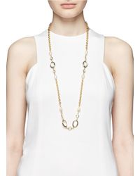 Kenneth Jay Lane | Metallic Faux Pearl Glass Crystal Necklace | Lyst