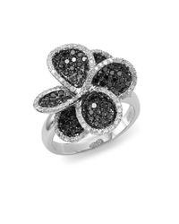 Effy - Metallic Final Call Black Diamond, White Diamond & 14k White Gold Petal Ring - Lyst