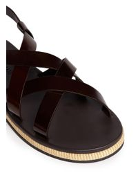 Giorgio Armani - Red Jute Midsole Leather Strap Sandals for Men - Lyst