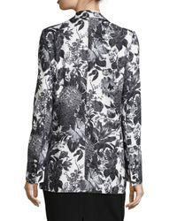Stella McCartney - Black Long Floral-print Blazer - Lyst