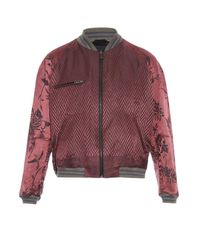 Haider Ackermann Red Floral And Chevron-Striped Jacquard Jacket for men