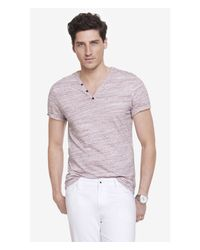 Express Red Space Dyed Y-Neck Henley Tee for men