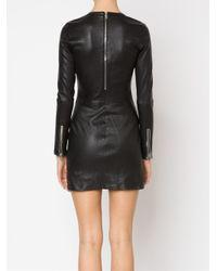RTA Black Zipped Leather Dress