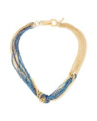 Kenneth Cole | Metallic New York Goldtone and Blue Mixed Chain Knotted Frontal Necklace | Lyst