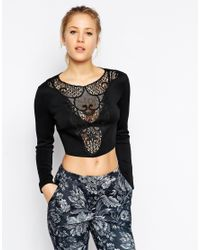 ASOS Crop Top In Smart Fabric With Embroidered Trim - Black