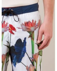 Osklen White Floral Print Bermuda Shorts for men