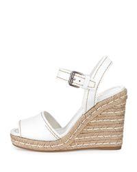 Prada - White Leather Rope Wedge Sandal - Lyst