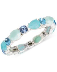 Nine West | Silver-tone Blue Bead And Crystal Stretch Bracelet | Lyst