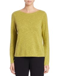 Eileen Fisher | Green Iris Linen And Cotton Ballet-neck Sweater | Lyst
